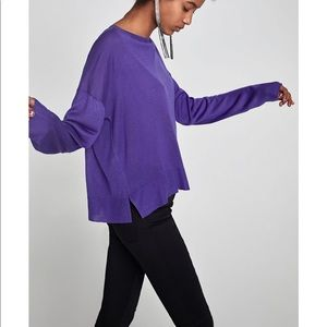 Purple Sweater with Draped sleeves, NWT